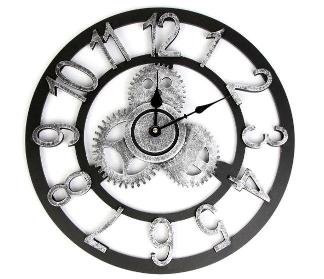 Jam Dinding Klasik Hitam Putih Bulat Dengan Gaya Vintage