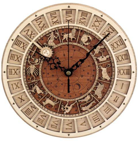 Jam Dinding Klasik Kayu Eropa Detail Desain Zodiak Antik Yang Mewah