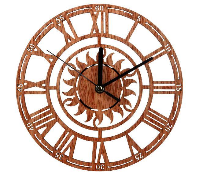 Jam Dinding Kayu Klasik Coklat Dengan Ukuran Besar