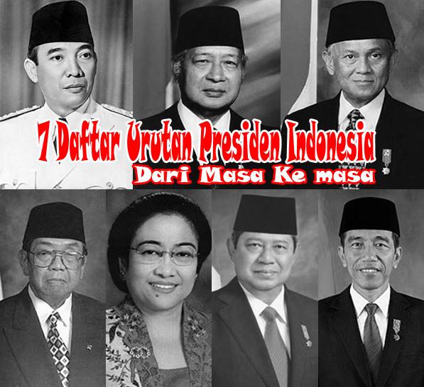 Daftar urutan Presiden Indoneisa dari masa ke masa
