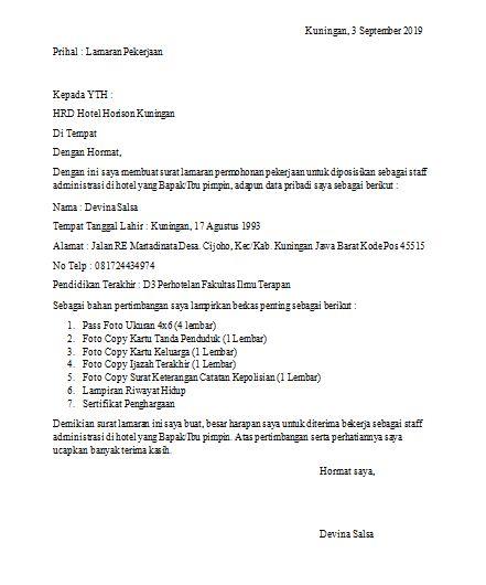 Contoh Surat Lamaran Kerja Tulis Tangan Simpel Untuk Guru Umum Hotel Dan Di Toko Doc Portalkuningan Com