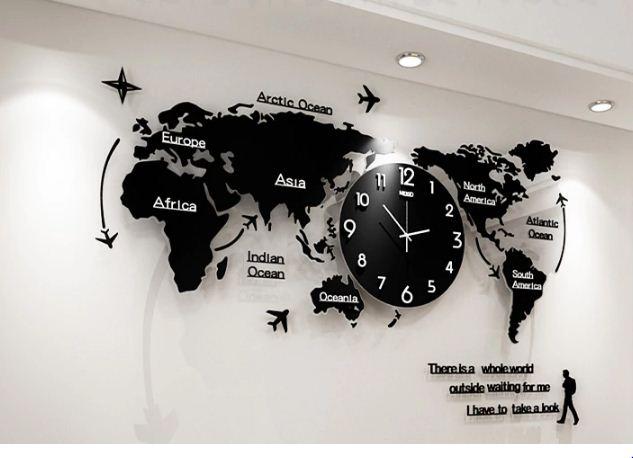 Jam Dinding Akrilik 3D Mewah Dengan Desain Peta Dunia