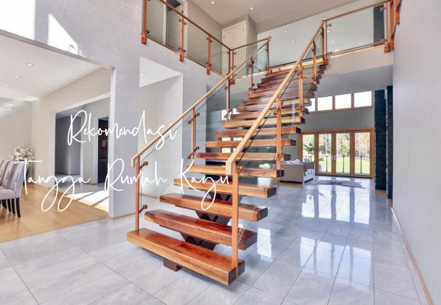 Model Dan Ukuran Tangga Rumah Kayu Unik Mewah Serta Modern