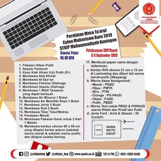 Peralatan Masa Ta'aruf Calon Mahasiswa Baru 2019 STKIP Muhammadiyah Kuningan
