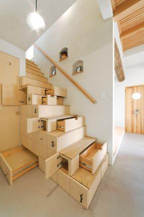 Tangga Rumah Minimalis Ruang Sempit Model Rak